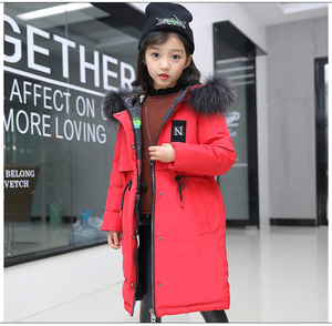 Image 2 - Super Thick Winter Jacket Coats Reversible Girls Fur Hooded Russian Girls Winter Coat Children Jacket Down Parkas Long Overcoat