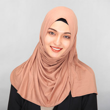 2018 Long 185*75cm autumn winter cotton scarf jersey hijab bonnet soft turban muslim head covering headscarf muslim turban hijab