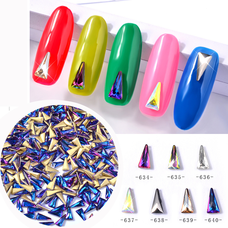 10 Pcs Crystal AB Fancy Triangular Nail Rhinestones Decorations Chameleon Aurora Alloy 3d Glass DIY Nail Art Jewelry wakefulness ab color glass rhinestones crystal mix caviar nail art mini beads sharp bottom gemstones charms 3d nail decorations