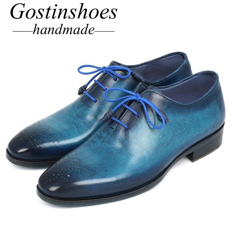 GOSTINSHOES HANDMADE Goodyear Welted Mens Formal Oxford Shoes Hand-Painted Genuine Leather Brown Blue Pointed Toe Lace-up SCT14GOSTINSHOES HANDMADE Goodyear Welted Mens Formal Oxford Shoes Hand-Painted Genuine Leather Brown Blue Pointed Toe Lace-up SCT14