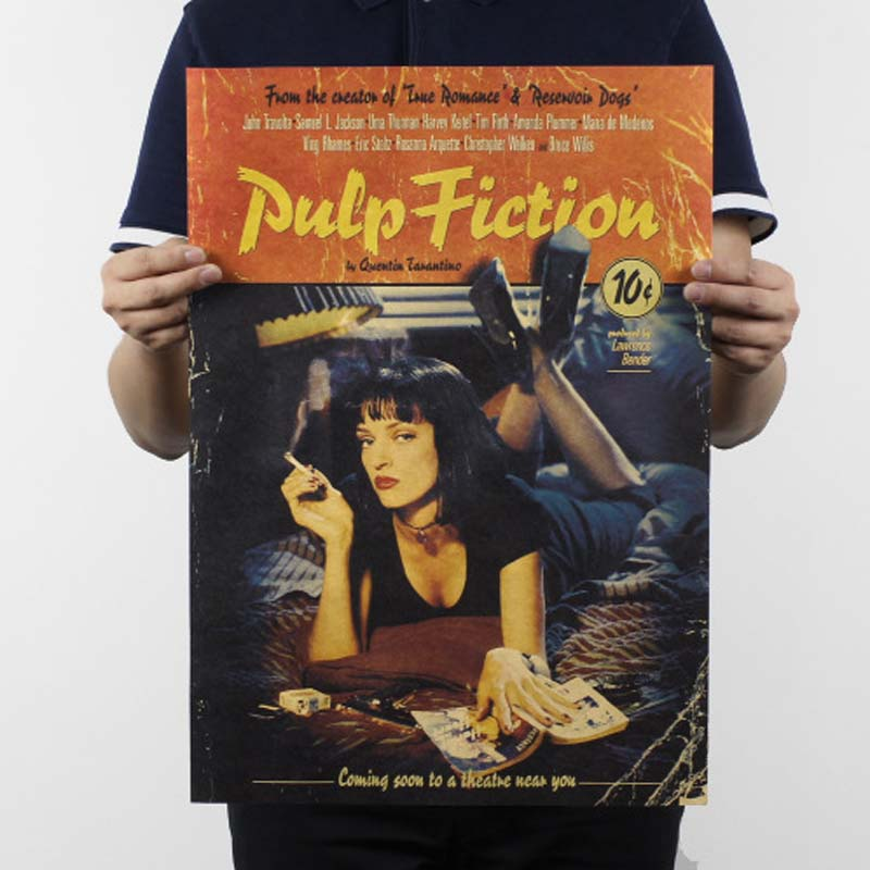 Pulp Fiction Vintage Poster Kraft Paper Painting Pared Home Decor Decoration Posters Wall Stickers Paper Crafts 51*35.5cm