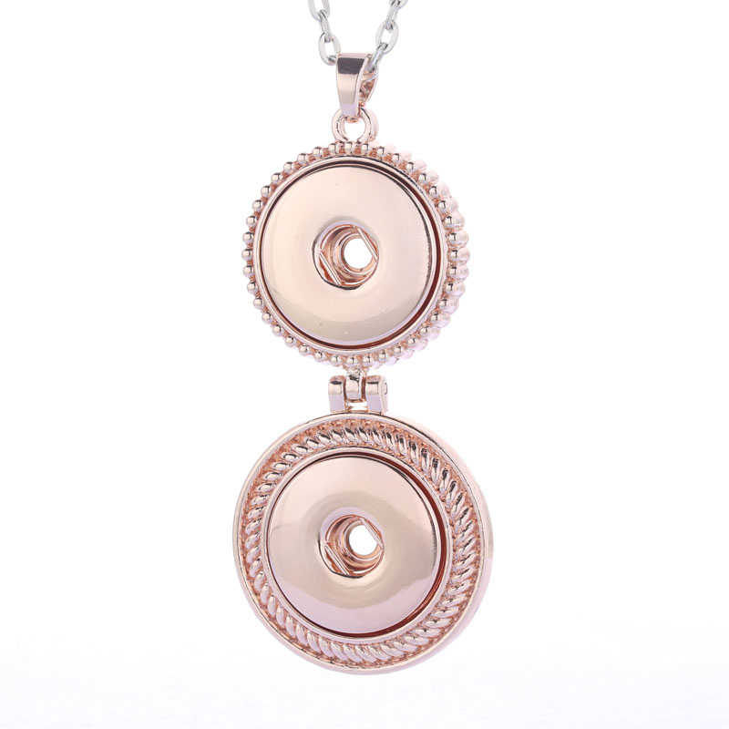 Hot Sale Rose gold Snap Button Jewelry Pendant Necklace With Link Chain Necklace Fit 18mm Snaps Necklace Jewelry For Women