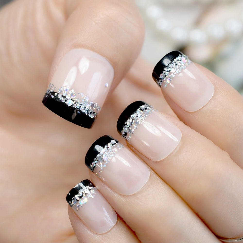 Sparkly Glitter French Nail Tips Black Side Nude Short ...