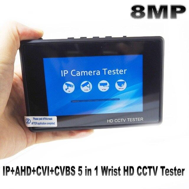"8MP wrist 4.0 IP Camera CCTV Tester Monitor 4"" coaxial HD 4K H.265 WIFI hotspot PTZ Control Cable CVI TVI AHD CVBS Camera tester"