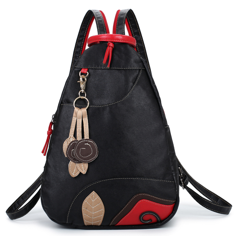 Embroidery Leaf Women Backpack Ethnic School Bags For Girls Brand Shoulder Bag Fashion Pu Leather Ladies Travel Backpacks