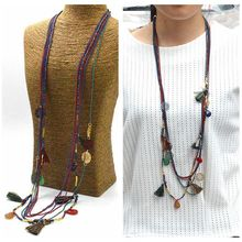 Color Vintage Statement Chain Glass Beads Long Necklace Pendants Women Copper Sheet 2015 Fashion Jewelry Accessories N15551