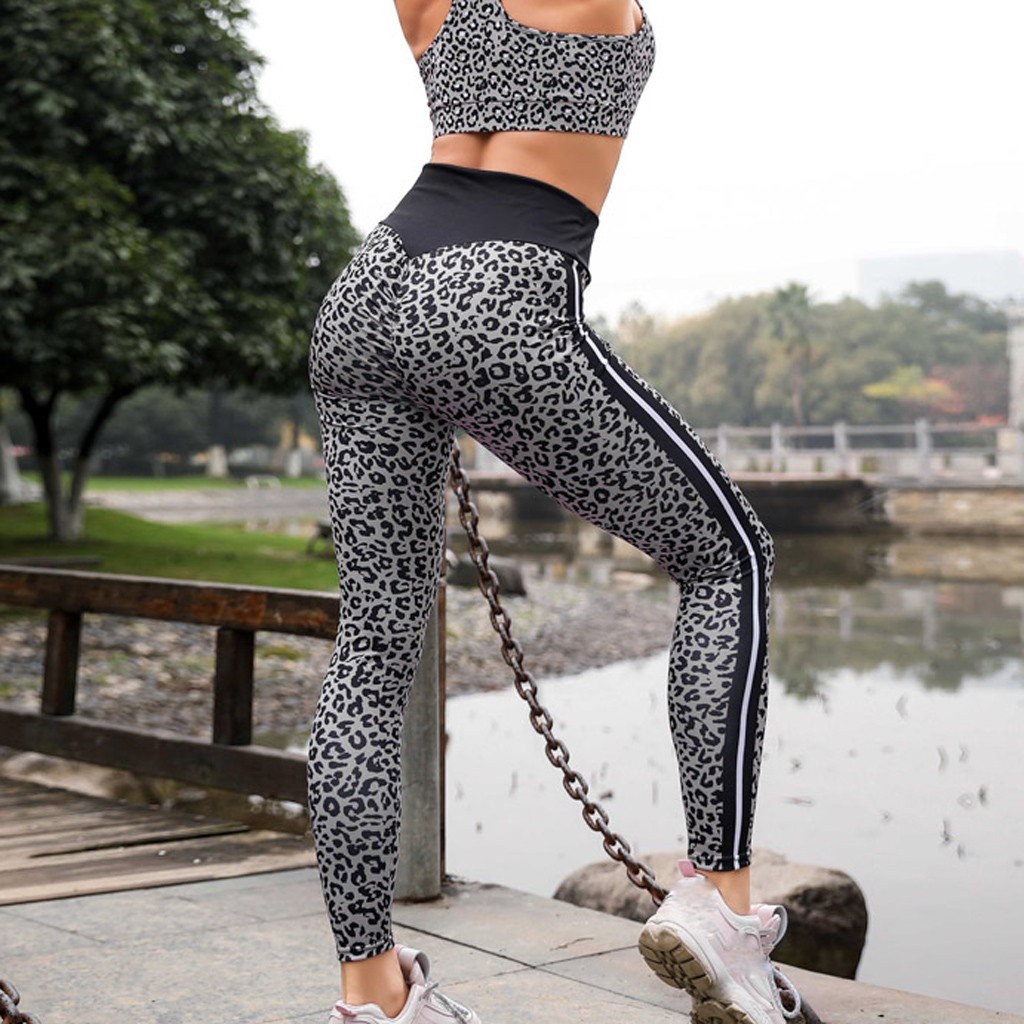 Sexy Leopard Print High Waist   Leggings   Hip Push Up Stretch Sport Pants Compression Running Jogging Sport   Leggings   2019 A30