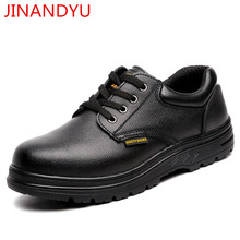 Black Genuine Leather Work Shoes Men Steel Toe Safety for Construction Safty Ankle Boots
