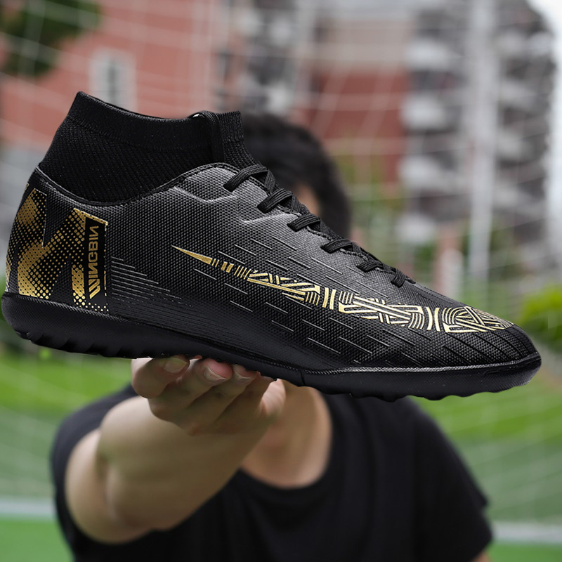 Men Outdoor Soccer Cleats Shoes Breathable TF Long Spikes Football Boots Training Sneakers Men Soft Sports Shoes Turf Futsal Soccer Shoes     - title=