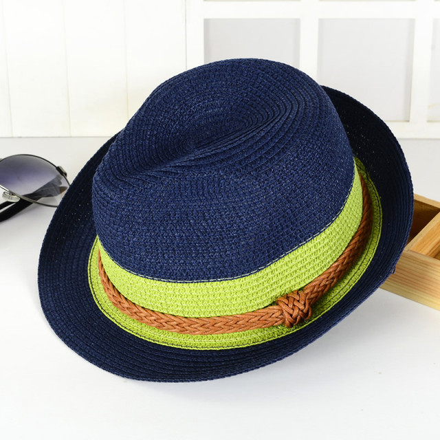 high quality summer hats for women men patchwork color straw floppy