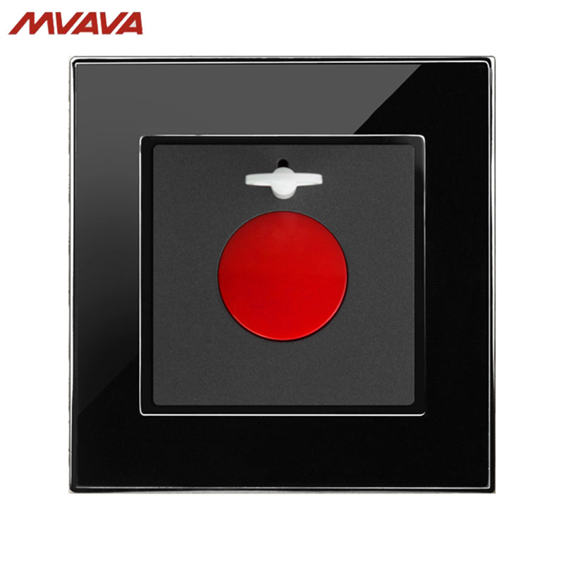 MVAVA SOS Push Bottom Danger Emergency Fire Alarm Wall Switch Luxury Wall Decorative Mirror Black Panel Free Shipping  alarm button fire emergency call luxury switch panel alarm with key brushed silver stainless steel sos panel