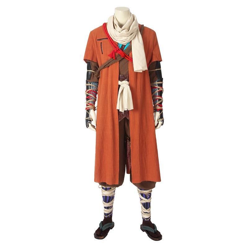 Indipendente Gioco Sekiro Ombre Die Due Volte Costume One-armed Lupo Cosplay Cappotto Di Pelle Prop Stivali Di Carnevale Di Halloween Outfit Custom Made