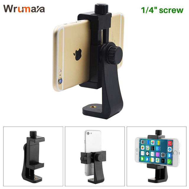 sale retailer b45dd 83921 US $3.98 5% OFF|Wrumava Tripod Mount/Cell Phone Clipper Vertical Bracket  Smartphone Clip Holder 360 Adapter for iPhone 8 7 plus XiaoMi HuaWei-in ...