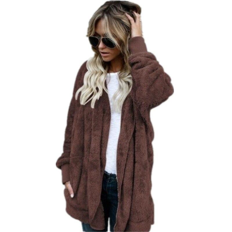 S 5XL Faux Fur Teddy Bear Coat Jacket Women Fashion Open Stitch Winter Hooded Coat Female