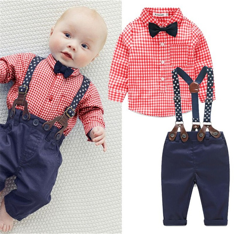 2016 New Brand Baby Boy Spring Clothes Gentleman Plaid Clothing Suit For Newborn Baby Bow Tie Shirt + Suspender Trousers