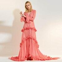 Women Dress Petal Floor Falbala Turn Down Collar Pink Plaid V Neck Plus Size Ruffle2017fashion Sweet