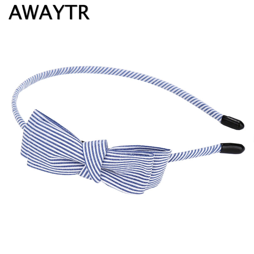 AWAYTR Women Girl Bow Headband Fashion Korean Girls Bowknot Ribbon Clip Striped Hairband Hair Band Accessories for Women shanfu women zebra stripe sinamay fascinator feather headband fashion lady hair accessories blue sfc12441