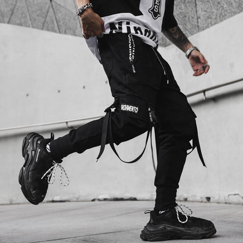 April MOMO 2020 Men New Spring Hip Hop Pants Club Singer Stage Costume Trousers Ribbons Streetwear Joggers Sweatpants Hombre(China)