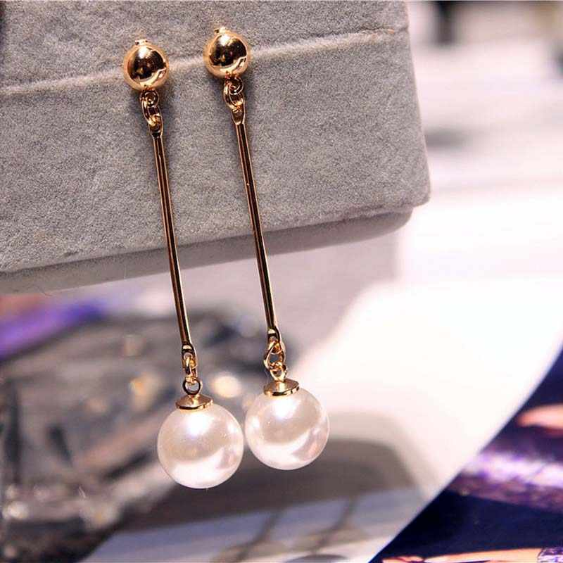 Korean Simulated Pearl Long Tassel Bar Drop Earrings For Women OL Style Sweet Dangle Brincos Party Jewelry Gift Wholesale EB478