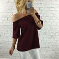 Europeus e Americanos estilo de slash pescoço shirt da forma das mulheres sexy bordado tees pure color de manga metade do comprimento sem encosto tops E201