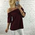 Slash camisa de cuello mujeres de la moda de estilo europeo y Americano sexy pullover camisetas pure color de media longitud de la manga sin respaldo tops E201