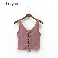 Skitzyou Sexy Sleeveless Cotton Short Cropped Women T Shirt Lace Up Gray 2018 Summer Slim Camis