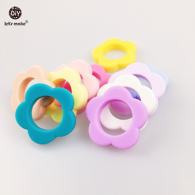 Let's Make Silicone Beads Teething 20pc Chew Jewelry Flower Shaped Sensory Baby Toy New Mom Necklace Safe Eco Silicone Balls