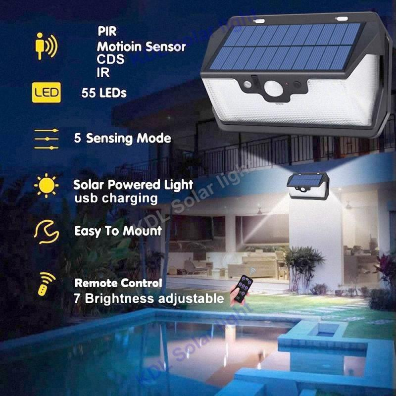 55 LED 900lm Solar Light remote control radar   Solar Power Str torch cam street wall desk lamp for yard deck garage patio camps refletor fq led