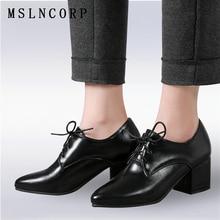 Plus Size 34-43 Fashion Spring Autumn fashion Casual shoes women square heel lace-up Soft Leather Oxfords Shoes Vintage