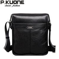 P. KUONE Новая повседневная мужская сумка из натуральной воловьей кожи, Мужская модная сумка на плечо, для ipad