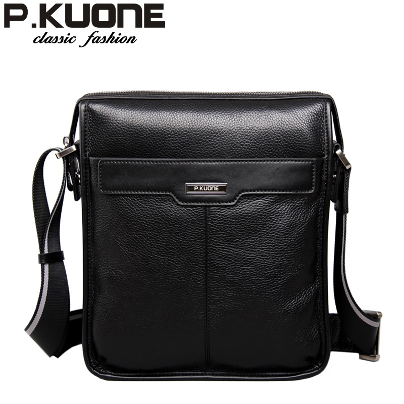 P.KUONE new casual cowhide Genuine leather men messenger bag, man fashion shoulder bag, for ipad genuine leather bag cowhide shoulder men