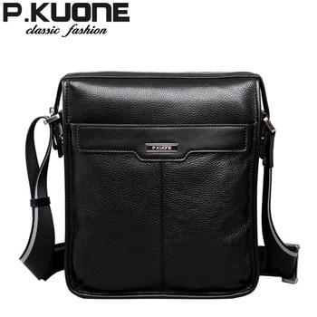 P.KUONE new casual cowhide Genuine leather men messenger bag, man fashion shoulder bag, for ipad