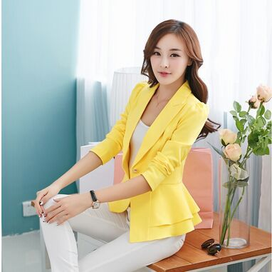 2019 Fashion Hot  New Women Blazers And Jackets Long-sleeve Slim Blazer Ruffle Short Blazer Design Candy Color Outerwear & Coats