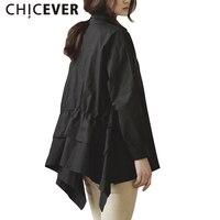 CHICEVER Weiß Shirts Top Weibliche Langarm frauen Shirt Asymmetrische Saum Freizeitkleidung Korean Mode Plus Größen Herbst Neue