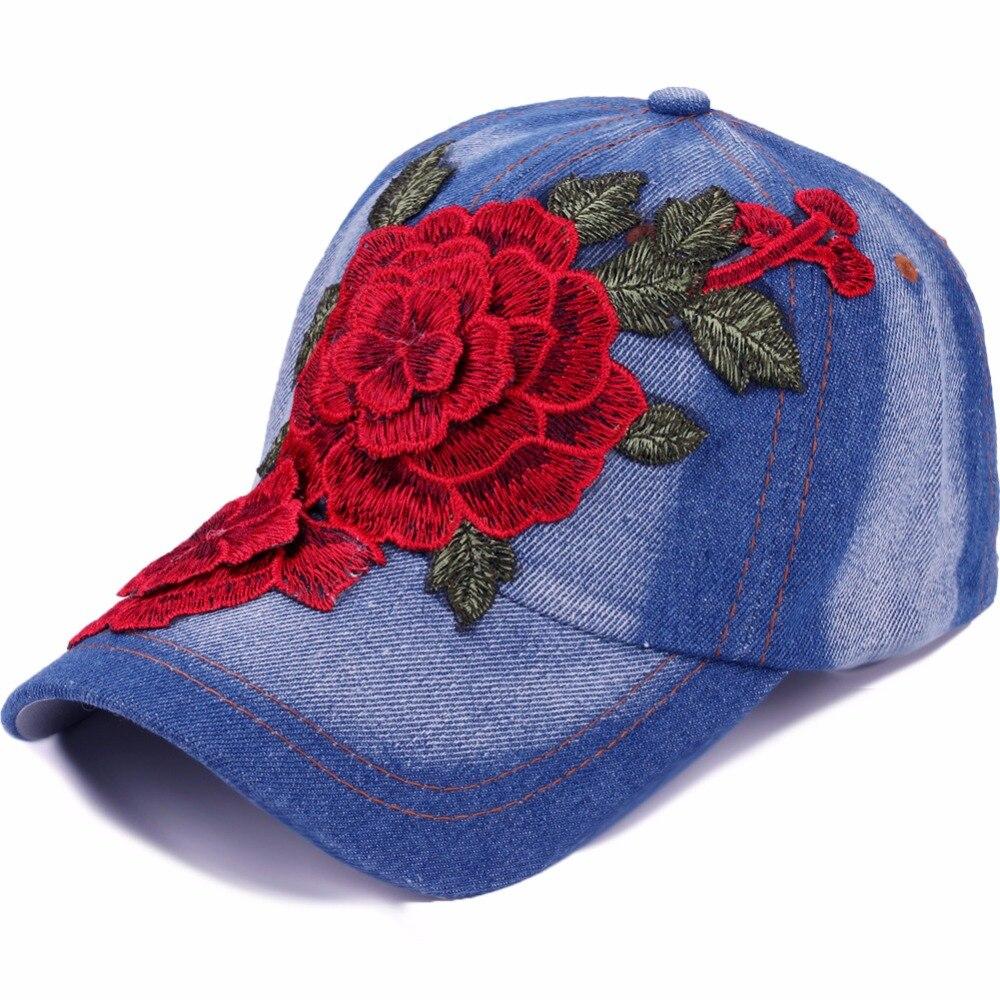 New Spring Summer Baseball Cap Women Floral Embroidery Snapback Hat Caps For Girls Casquette Gorras Solid Denim Bone Hip Hop Cap