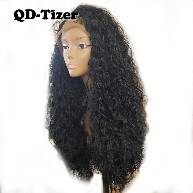 QD-Tizer Loose Curl Front Lace Wigs Synthetic Lace Wig Black Color Hair 180% Heat Resistant fiber