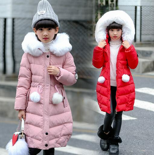 New Children Cold Winter Jackets Girls Thickening Warm Cotton Parkas Kids Long Hooded Outerwear Coats цена