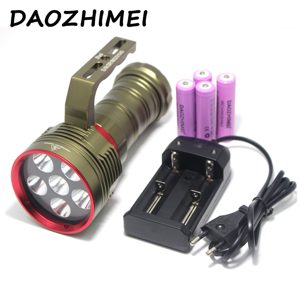Waterproof 10000 Luemns 6X CREE XM-L2 LED Dive Led Torch SkyRay DX6 Scuba 150M Diving Flashlight + 4 x 18650 Batteries + Charger