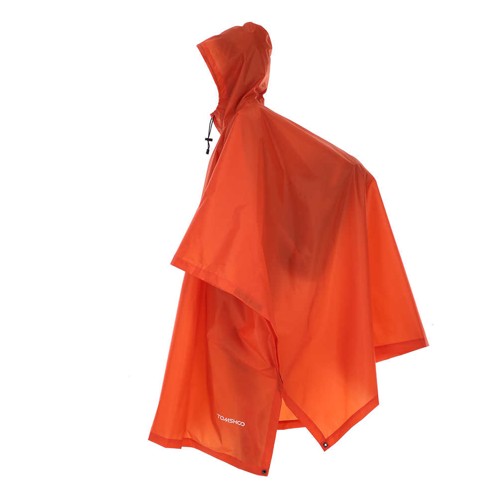 Multifunctional Rain Coat Protable Hiking Camping Raincoat Poncho Jacket Pockets Mat Awning Outdoors Rain Gear Supplies 3 In 1