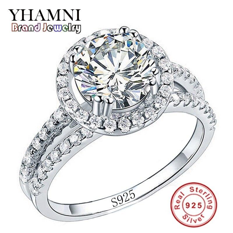 Big Sale Moda Jóias Anel Tem Selo S925 Esterlina 925 Reais Anel de prata Set 2 Carat CZ Anéis de Casamento para As Mulheres Diamant R510
