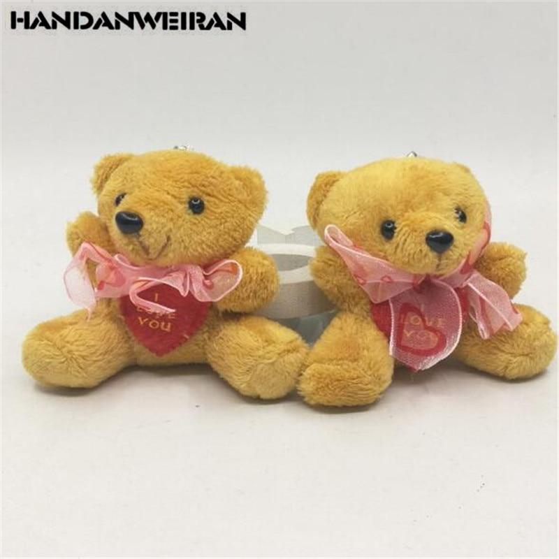 2PCS Mini Plush Bear Toys Creative Cute Heart Sitting Posture  Soft Stuffed Love Bear Toy Children Playmate For Kids Gifts 6CM