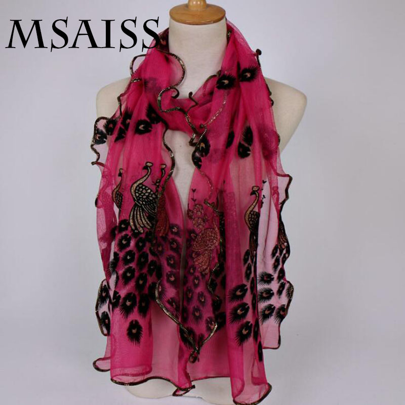 MSAISS 190*40CM Gorgeous Lace Scarf  Luxury Woman Brand Scarves Women Shawl High Quality Print Hijab Wraps Scarf