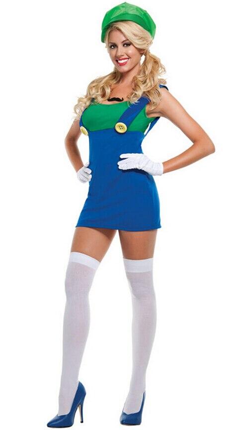 female electrician super mario luigi cosplay uniform water electrician false two
