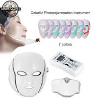 2019 new 7 Colors Photon Electric LED Facial Mask with Neck Skin Rejuvenation Anti Acne Wrinkle Beauty Treatment Salon Home Use