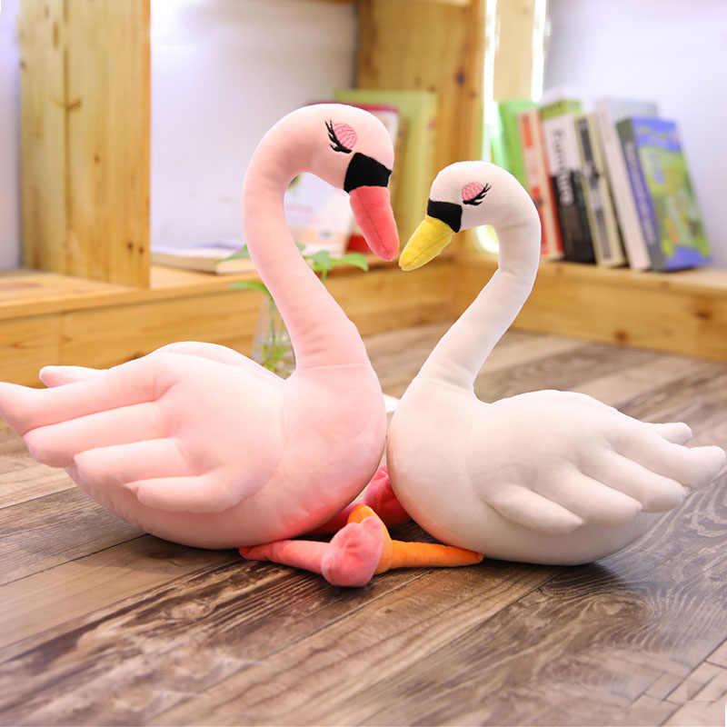 بجعة ألعاب من القطيفة الحياة الحقيقية محشوة الحيوان دمية ناعمة أفخم الأبيض الوردي أوزة وسادة لفتاة لعب للأطفال هدية عيد ميلاد