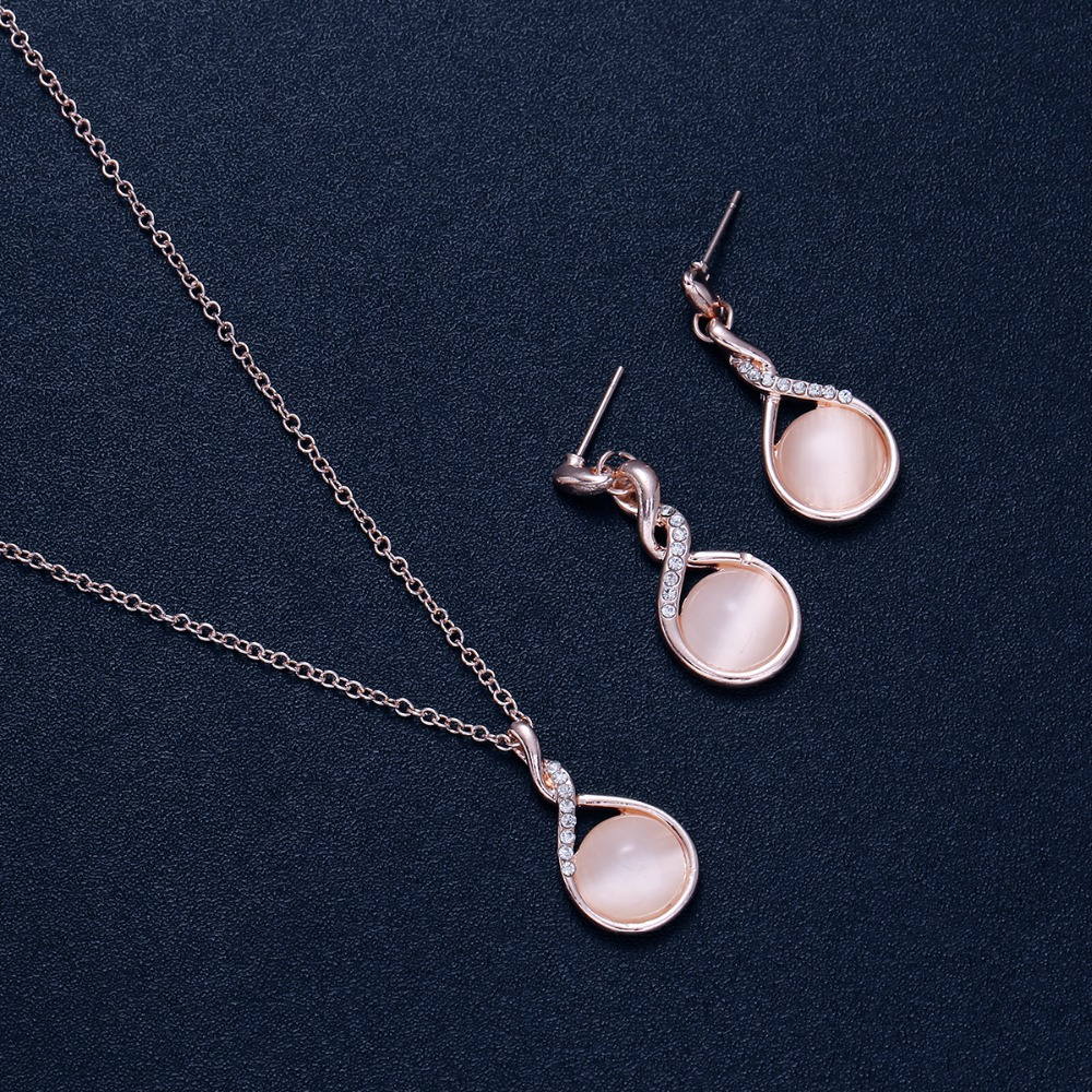 Luxury Water Drop Creative Spiral Crystal Jewelry Sets For Elegant Women Exquisite Earrings Necklace Jewellery For Lover Gifts