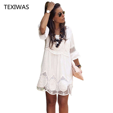 TEXIWAS vestido de talla grande S   6XL para mujer, vestido de encaje holgado de media manga a la moda, vestido blanco con cuello redondo 2018