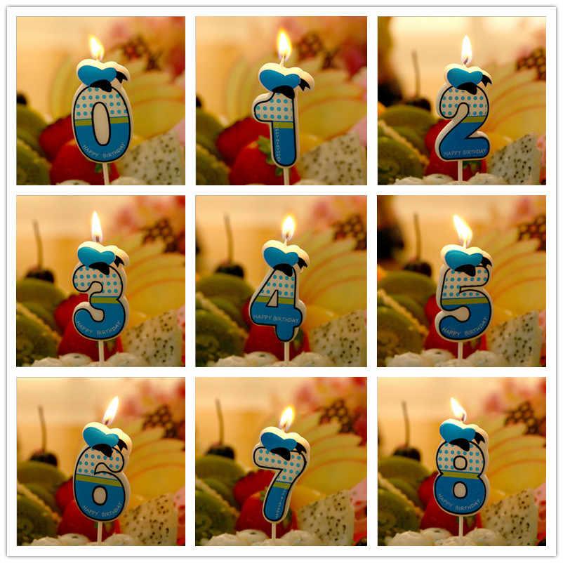 Минни 1 шт. 0-9 номер Мультфильм комикс Экологичная свеча Дети День рождения праздничный торт свечи-цифры подарок