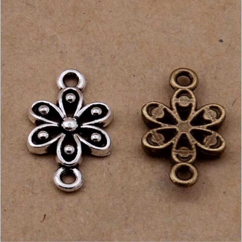 30pcs 17x10mm Antique Silver/Bronze Flower Bracelet Necklace Connectors End Clasps Charms Pendant for DIY Jewelry Making Z615