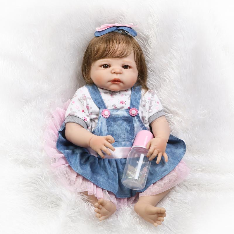 Bebe 55cm Full Body Silicone Reborn Baby Doll Toys demin skirt Newborn Princess Girl Babies Toddler Dolls Birthday Gift  bonecasBebe 55cm Full Body Silicone Reborn Baby Doll Toys demin skirt Newborn Princess Girl Babies Toddler Dolls Birthday Gift  bonecas